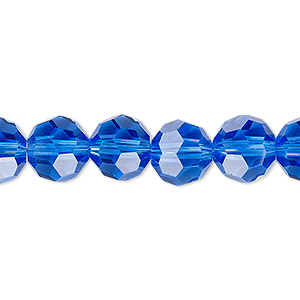bead, celestial crystal, 32-facet, transparent medium blue, 10mm faceted round. sold per 16-inch strand.