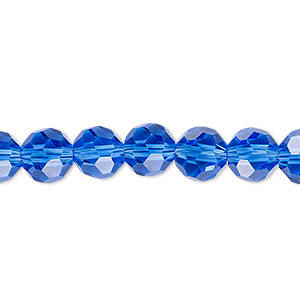 bead, celestial crystal, 32-facet, transparent medium blue, 8mm faceted round. sold per 16-inch strand.