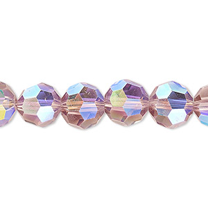 bead, celestial crystal, 32-facet, transparent medium purple ab, 10mm faceted round. sold per 16-inch strand.