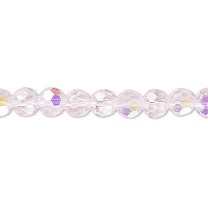bead, celestial crystal, 32-facet, transparent pink ab, 6mm faceted round. sold per 16-inch strand.