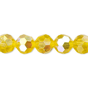bead, celestial crystal, 32-facet, transparent yellow ab, 10mm faceted round. sold per 16-inch strand.