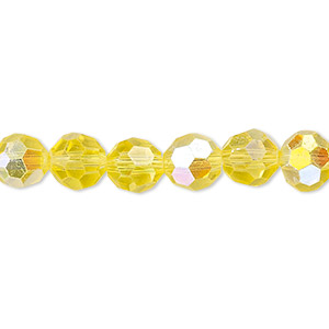 bead, celestial crystal, 32-facet, transparent yellow ab, 8mm faceted round. sold per 16-inch strand.