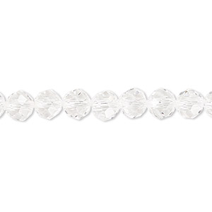 bead, celestial crystal, 48-facet, clear, 6mm faceted round. sold per 16-inch strand.