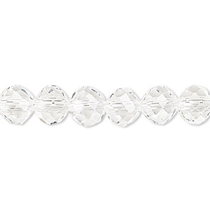bead, celestial crystal, 48-facet, clear, 8mm faceted round. sold per 16-inch strand.