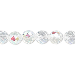 bead, celestial crystal, 48-facet, clear ab, 8mm faceted round. sold per 16-inch strand.
