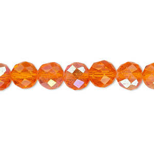 bead, celestial crystal, 48-facet, transparent orange ab, 8mm faceted round. sold per 16-inch strand.