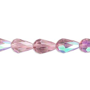 bead, celestial crystal, 56-facet, medium purple ab, 12x8mm faceted teardrop. sold per 16-inch strand.