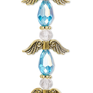 bead, celestial crystal and antique gold-finished pewter (zinc-based alloy), medium blue ab and clear, 23mm angel. sold per pkg of 4.