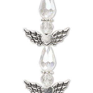 bead, celestial crystal and antique silver-plated pewter (zinc-based alloy), clear ab, 25x22mm angel. sold per pkg of 4.