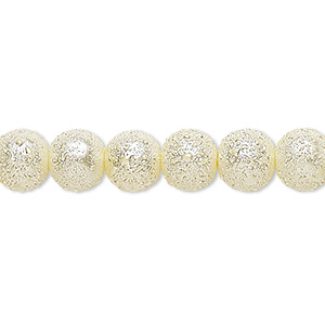 bead, celestial crystal and moonscape™, glass pearl, ivory, 8mm textured round. sold per pkg of (2) 16-inch strands.