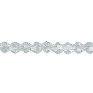 bead, celestial crystal, frosted transparent clear, 6mm faceted bicone. sold per 16-inch strand.