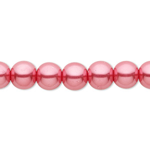 bead, celestial crystal, glass pearl, bright pink, 8mm round. sold per pkg of (2) 16-inch strands.