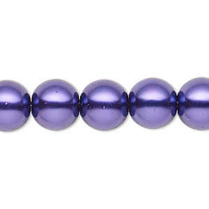 bead, celestial crystal, glass pearl, deep purple, 11-12mm round. sold per 16-inch strand.