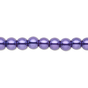 bead, celestial crystal, glass pearl, deep purple, 5-6mm round. sold per pkg of (2) 16-inch strands.