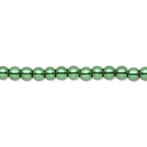 bead, celestial crystal, glass pearl, forest green, 3-4mm round. sold per pkg of (2) 16-inch strands.