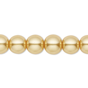 bead, celestial crystal, glass pearl, gold, 10mm round. sold per pkg of (2) 16-inch strands.