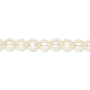bead, celestial crystal, glass pearl, ivory, 6mm round. sold per pkg of (2) 16-inch strands.