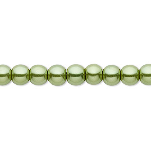 bead, celestial crystal, glass pearl, medium green, 6mm round. sold per pkg of (2) 16-inch strands.
