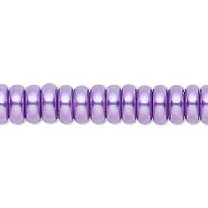 bead, celestial crystal, glass pearl, medium purple, 8x3mm rondelle. sold per pkg of (2) 16-inch strands.
