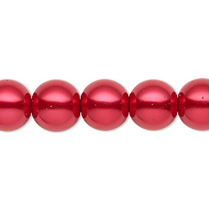 bead, celestial crystal, glass pearl, red, 11-12mm round. sold per 16-inch strand.