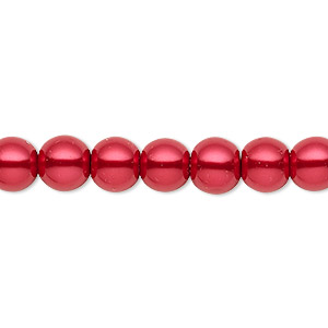 bead, celestial crystal, glass pearl, red, 7-8mm round. sold per pkg of (2) 16-inch strands.