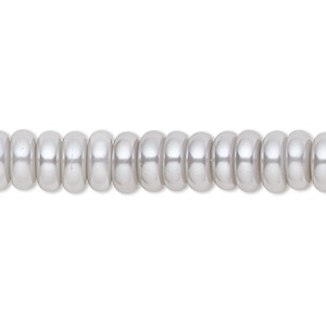 bead, celestial crystal, glass pearl, silver, 8x3mm rondelle. sold per pkg of (2) 16-inch strands.