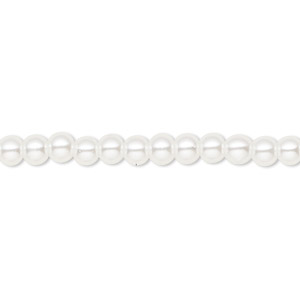 bead, celestial crystal, glass pearl, white, 4mm round. sold per pkg of (2) 16-inch strands.