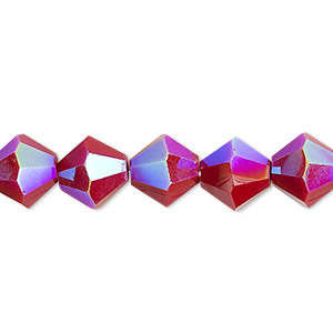 bead, celestial crystal, opaque red ab, 10mm faceted bicone. sold per 8-inch strand, approximately 20 beads.