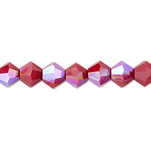 bead, celestial crystal, opaque red ab, 8mm faceted bicone. sold per 16-inch strand.