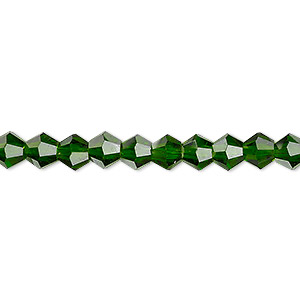 bead, celestial crystal, transparent emerald green, 6mm faceted bicone. sold per 16-inch strand.