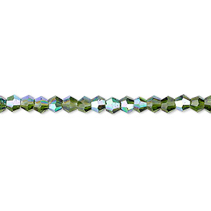 bead, celestial crystal, transparent emerald green ab, 4mm faceted bicone. sold per 16-inch strand.