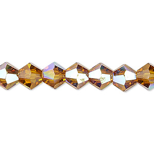 bead, celestial crystal, transparent gold ab, 8mm faceted bicone. sold per 16-inch strand.