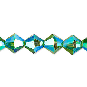 bead, celestial crystal, transparent green ab, 10mm faceted bicone. sold per 8-inch strand, approximately 20 beads.
