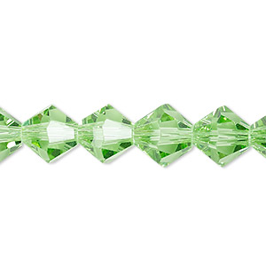 bead, celestial crystal, transparent lime green, 10mm faceted bicone. sold per 8-inch strand, approximately 20 beads.