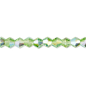 bead, celestial crystal, transparent lime green ab, 6mm faceted bicone. sold per 16-inch strand.