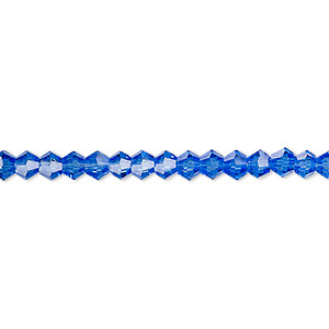 bead, celestial crystal, transparent medium blue, 4mm faceted bicone. sold per 16-inch strand.