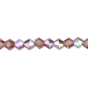 bead, celestial crystal, transparent medium purple ab, 6mm faceted bicone. sold per 16-inch strand.