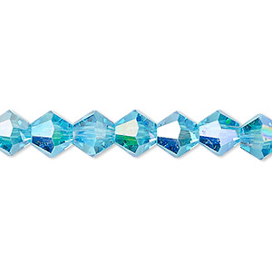 bead, celestial crystal, transparent turquoise blue ab, 8mm faceted bicone. sold per 16-inch strand.