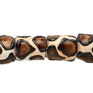 bead, ceraclay, brown / black / tan, 13x11mm-15x13mm barrel with giraffe print design. sold per 16-inch strand.