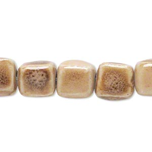 bead, ceramic, tan, 10x10mm cube. sold per 8-inch strand, approximately 17-19 beads.