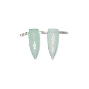 bead, chalcedony (dyed), aqua blue, 16x6mm hand-cut top-drilled faceted spike, b grade, mohs hardness 6-1/2 to 7. sold per pkg of 2 beads.