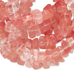 bead, cherry quartz glass, medium chip with 0.7-0.8mm hole. sold per 36-inch strand.
