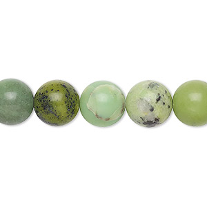 bead, chinese chrysoprase (natural), 10mm round, b- grade, mohs hardness 2-1/2 to 6. sold per 15-inch strand.