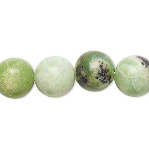 bead, chinese chrysoprase (natural), 11-12mm round, c- grade, mohs hardness 2-1/2 to 6. sold per 15-inch strand.