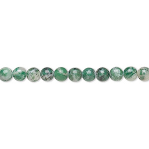 bead, ching hai jade (natural), 4mm round, b grade, mohs hardness 3-1/2 to 4. sold per 16-inch strand.