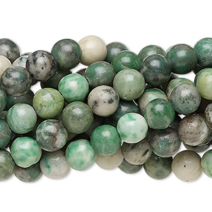 bead, ching hai jade (natural), 6mm round, c grade, mohs hardness 3-1/2 to 4. sold per pkg of (10) 16-inch strands.