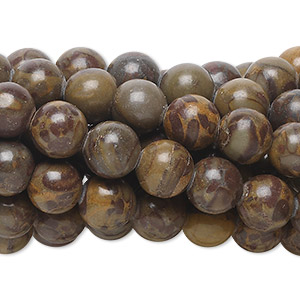 bead, chrysanthemum stone (natural), 8mm round, b grade, mohs hardness 3 to 4. sold per pkg of (10) 16-inch strands.