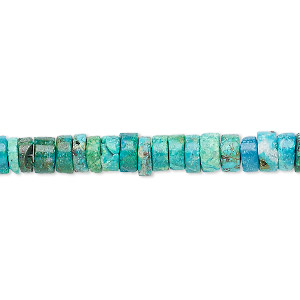 bead, chrysocolla (dyed / stabilized), blue / green / white, 4x1mm-6x3mm hand-cut rondelle with 0.4-1.4mm hole, b grade, mohs hardness 2 to 4. sold per 8-inch strand, approximately 70-80 beads.