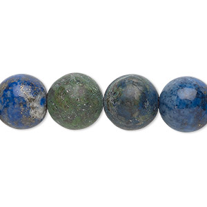 bead, chrysocolla (stabilized), 12mm round, b grade, mohs hardness 2 to 4. sold per 16-inch strand.