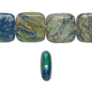 bead, chrysocolla (stabilized), 14mm flat square, b grade, mohs hardness 2 to 4. sold per 16-inch strand.